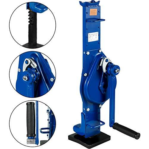Mophorn Gato para Coche Capacidad 3T Azul Gato Mecánico de Mano Freno Automático Gato Hidraulico Carretilla para Granja Fábrica Coches
