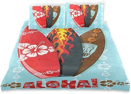 Juego de Funda nórdica Aloha Tablas de Surf Máscara de Hibisco Flame Sports Extreme Juego de Ropa de Cama Decorativo de 3 Piezas con 2 Fundas de Almohada Cuidado fácil Antialérgico Suave Suave