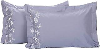 Memoria de Almohadas de algodón Puro Color sólido de protección de la Columna Cervical Almohada (un par) (Color : Pillow A)