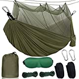 SIHOHAN Camping Hammock with Mosquito Net, Double Hammocks with Tree Straps and Eye Mask, Portable Hammocks for Backpacking, Travel, Beach, Backyard, Patio, Hiking