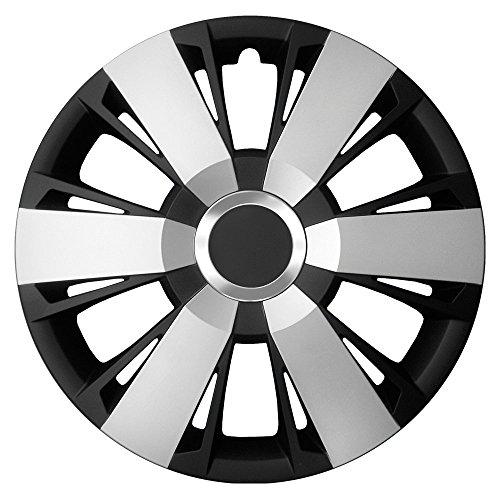 CM Design 15 inch bicolor wieldoppen Sportivo Duo (zilver/zwart met chromen ring). Wieldoppen geschikt voor bijna alle Ford zoals Fiesta MK3