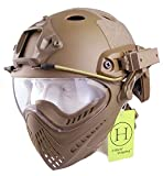 H World UE - Casco integral táctico para airsoft o painball, con gafas de visión completa y frontal extraíble, color DE, tamaño L-XL