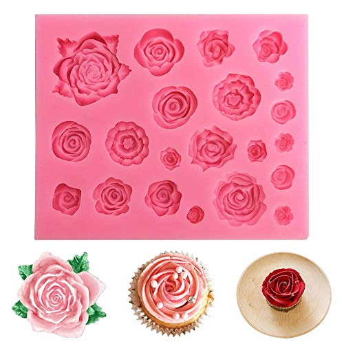 yyuezhi 3D Rosen Blumen Silikon Backform für Kuchen Fondant Dekorieren Rosen Blumen Form für Jelly Sugar Candy Schokolade Fondant Kuchen Dekoration Mini Cupcake DIY Backen Dekoration Werkzeug Rosa