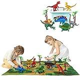 Erlsig - Tappetino da gioco con dinosauri con albero e dinosauri, per bambini, ragazzi e ragazze, con scatola portaoggetti