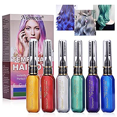 Hair Dye for Girls, Temporary Hair Mascara, Temporary Hair Color Chalk, Temporary Hair Dye, for Kids Hair Dyeing Party, Christmas, Birthday, Cosplay and DIY, 6 Colors