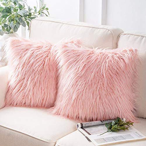 nuoshen 2 Pcs Plush Pink Cushion Covers, 45 x 45cm(18 x 18 inch) Faux Fur Decorative Super Soft Pillow Case for Sofa Bed Chair Couch Living Room