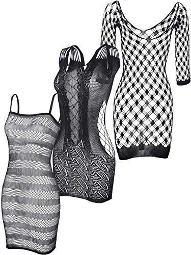 3 Pieces Fishnet Dresses Mesh Lingerie Fishnet Hollow Fishnet Sleepwear for Women Favor (Black)
