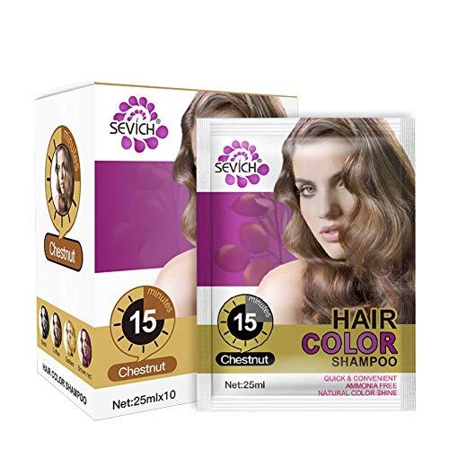 Instant Haarfärbemittel Shampoo Haarfärbemittel, 25ml x 10 Beutel, letzte 4 Wochen - schwarz, Kastanienbraun, weinrot (Kastanie)
