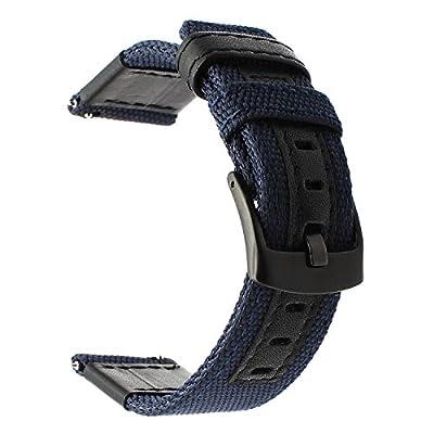 Para Samsung Gear S3 correa de reloj, TRUMiRR 22 mm de liberación rápida tejido reloj de pulsera de nylon correa de cuero genuino Pulsera deportiva para Gear 2 Neo Live, Moto 360 2 46mm hombres, Pebble Time, LG G Watch Urbane, Vector, Xiaomi Amazfit