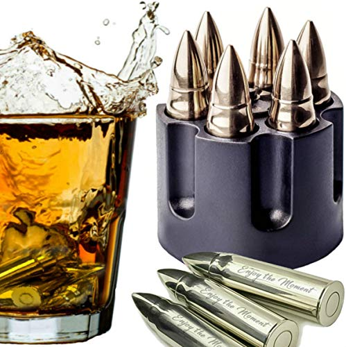 WHISKEY STONES LARGE 6 LASER ENGRAVED STAINLESS STEEL SILVER BULLETS with Revolver Barrel Base Reusable Chilling Rocks Stone Ice Cubes Chillers Birth Day Gift Set for Father's Day, Military Man