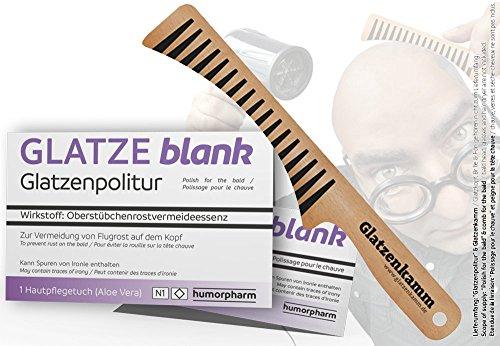 Glatzenpolitur GLATZE blank & Glatzenkamm (Geschenk-SET) - Politur für die Glatze und Glatzen-Kamm im Set - Scherzartikel