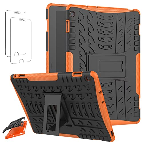 Ttianfa Funda para for Huawei MediaPad M3 Lite 10.1 【2x】Cristal Templado Protector Pantalla Doble Capa a Prueba de Choques Soporte Plegable Kickstand 360° Rugged Protector Antideslizante Funda,Orange