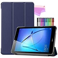 Billionn Huawei MatePad T8(kobe2-L03 / KOB2-L09)タブレット用フォリオ3つ折りスタンドスマートケース[超薄型] [超軽量]、濃紺