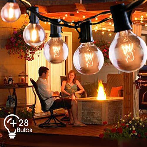 Outdoor String Lights FOCHEA 31ft G40 Outdoor Garden Globe String Lights Festoon Lighting for Indoor...