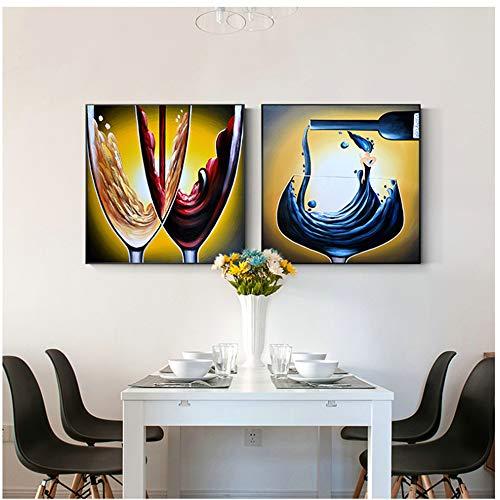 Jin Yi Global op canvas, abstract schilderij op wijnglas, voor woonkamer, restaurant, grote poster en Europese druk, HD canvas, 60 x 60 cm, zonder lijst