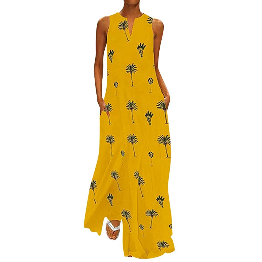 Aniywn Ladies Deep V Neck Long Dress Plus Size Casual Sleeveless Maxi Dress Women's Floral Printed Party Dresses