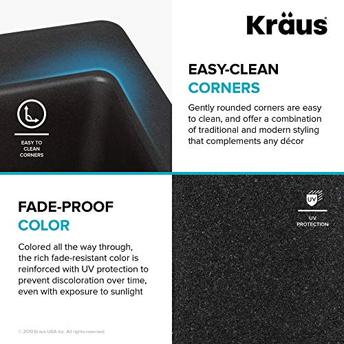 Kraus Quarza Kitchen Sink, 33-Inch Equal Bowls, Black Onyx Granite, KGD-433B model