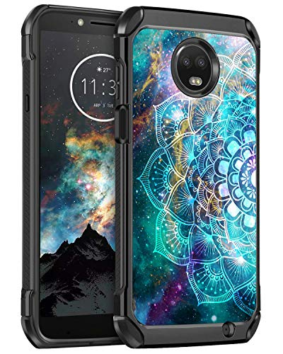 BENTOBEN Moto Z3 Play Case, Moto Z3 Case, Shockproof Slim Dual Layer Hard PC Soft Bumper Glow in The Dark Noctilucent Cute Protective Phone Cases Cover for Motorola Moto Z3/Z3 Play, Mandala in Galaxy