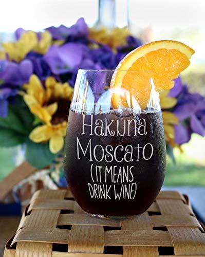 DKISEE Taza de vino Hakuna Moscato (It Means Drink Wine), copa de vino, divertido regalo, regalo para pareja, Copa de vino Snob, regalo de compañero de trabajo, vidrio, Un color, 311,84 g