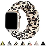 BMBMPT Scrunchie Elastic Watch Band Compatible with Apple Watch Band 38mm 40mm 42mm 44mm Cloth Soft Pattern Printed Fabric Wristband for iWatch Series 5,4,3,2,1 (A-Leopard, 42mm/44mm Small size)