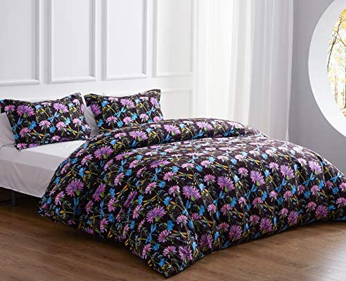 NexHome Duvet Cover and Pillowcases Purple Flower Leaf Printed King Bedding Duvet Cover Set product image