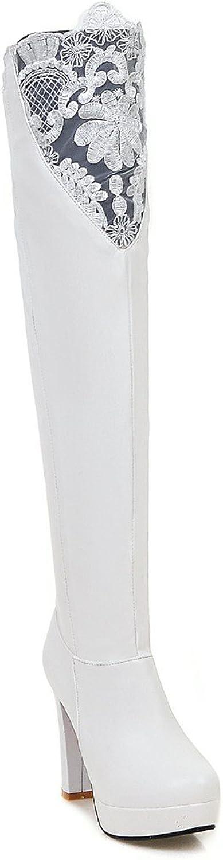 BalaMasa Womens Hollow Out High-Heels Platform Round-Toe White Urethane Boots ABL09586 - 7 B(M) US