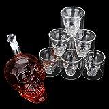 Hoois Whiskey Decanter Skull Set with 6 Cocktail Shot Glasses 750ml Scotch Bourbon or Vodka - Large Skull Face Decanter