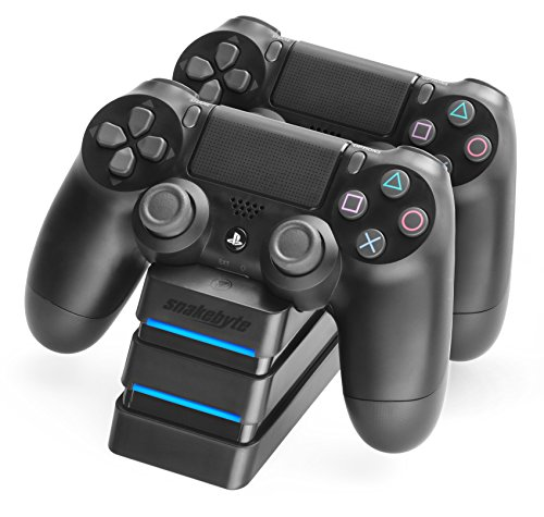 snakebyte PS4 TWIN:CHARGE 4 – schwarz – Ladegerät/Ladestation für PlayStation 4/ PS4 Slim / PS4 Pro Dualshock 4 Controller, Docking Station für 2 Gamepads inkl. MICRO USB Kabel, LED-Ladezustandanzeige
