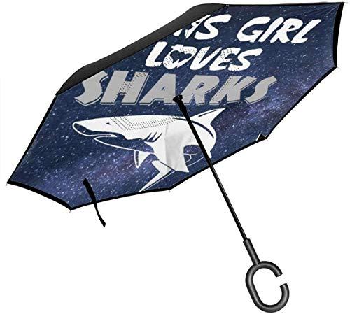 Big Stick Inverted Umbrella Inside Out Regenschirm 2-lagig Faltbarer, winddichter UV-Schutz Leichtgewicht mit C-förmigem Griff In diesem Girl Loves Sharks Print für Auto Rain Outdoor 8 Skeleton