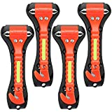OUCPC Car Safety Hammer, 4 Pack Auto Emergency Escape Tool Car Window Glass Breaker and Seat Belt Cutter for Family Rescue, Life Saving Survival Kit