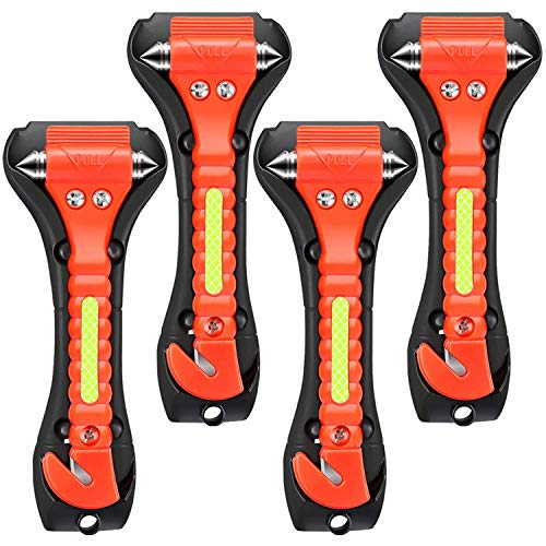 ONCHA Car Safety Hammer, 4 Pack Auto Emergency Escape Tool Car Window Glass Breaker and Seat Belt Cutter for Family Rescue, Life Saving Survival Kit