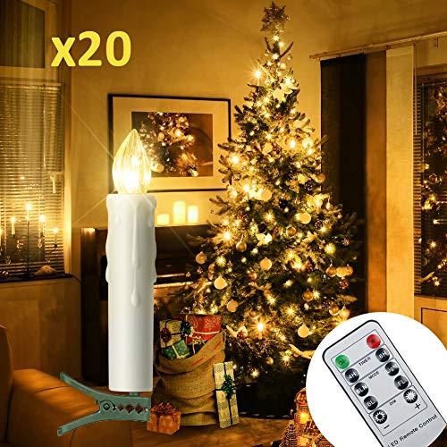 20er LED Kerzen Timer mit Fernbedienung, Weihnachtskerzen, IP64 Dimmbar Kerzenlichter Flammenlose Weihnachtskerzen für Weihnachtsbaum, Weihnachtsdeko, Hochzeit, Geburtstags, Party