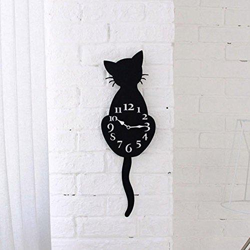 Doublehero Wanduhr Acryl Kreative Cartoon Nette Katze Schwanz wird die Katzenuhr bewegen Wohnkultur Uhr Weise (D)