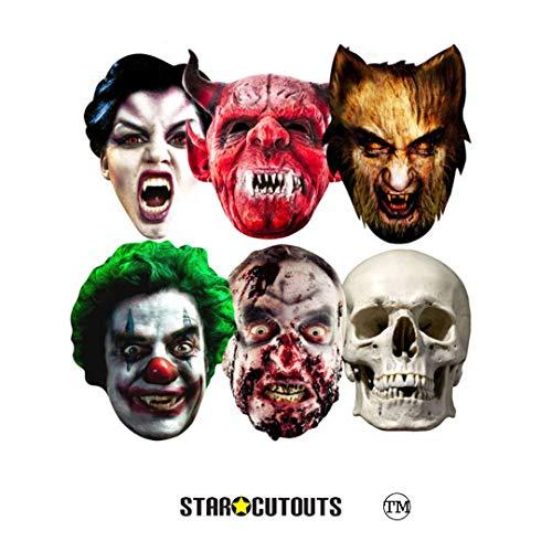 STAR CUTOUTS - Stsmp69 - 6 Masques pour Adulte Halloween - Taille Unique