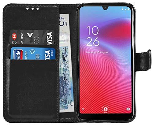 Gadget Giant Custodia per Cellulare in Pelle Gigante per Custodia Vodafone Smart V10 Custodia a Portafoglio con Custodia a Fessura con Fessure per Carte e Supporto - Nero