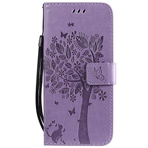 Wmchiwan Phone Case Cover with Detachable Wrist Strap TPU Bumper Magnetic Clasp Flip Wallet Cover PU Leather Cat and Tree Embossed Fit for Sony L3