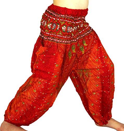 Sarouel 3/4años niño pantalón étnica harén Pant Children Aladin Boho niña niño Red Rojo
