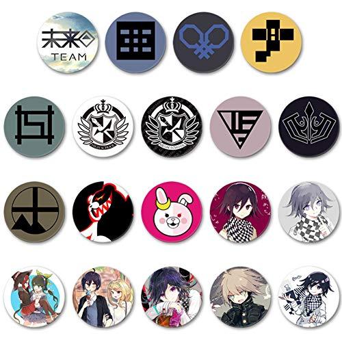 Saicowordist 19 Stück Danganronpa Button Pins Set Metall Abzeichen Cartoon Sammlerstück Brosche Pins Cosplay Kostüm Zubehör Geschenk für Anime-Fans