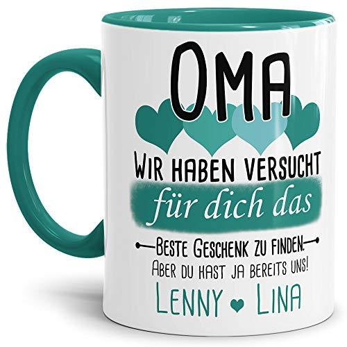 Tassendruck Geschenk Tasse mit Spruch PERSONALISIERT Oma von Enkelkindern - Kaffee-Tasse/Geschenkidee Geburtstag Muttertag/Muttertagsgeschenk - Innen & Henkel Türkis