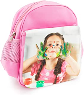 Mochila Infantil Rosa Personalizada con tu Foto o Texto para el Cole o la merienda 7,5 cm x 23 cm x 25 cm