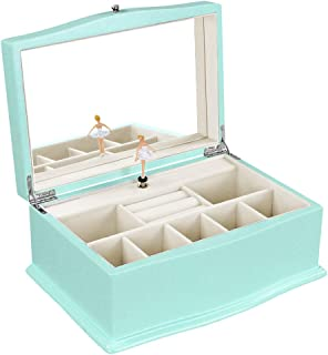 """SONGMICS Girls Jewelry Box with Ballerina, Wooden Musical Case with Large Mirror, 10.4""""l x 6.9""""w x 4.6""""h, turquoise"""