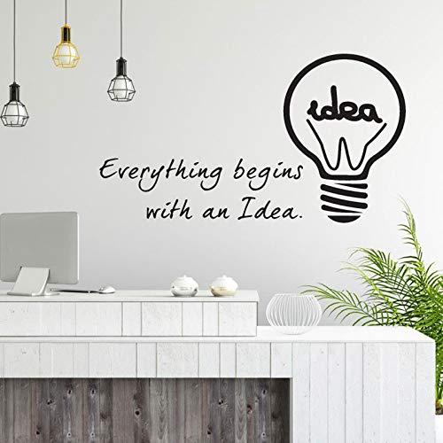 Gloeilamp idee kantoor inspiratie coole muursticker sticker vinyl familiekamer decoratie 86.4x50.4cm