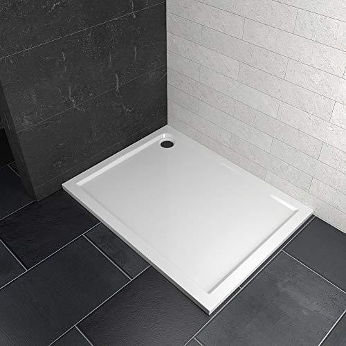 Safeni Duschwanne 120x90cm Rechteckig Flach Duschtasse Rechteckig Quadratisch Badezimmer Duschbecken Flache Aufbau-Höhe: 4 cm, Weiß, Ohne Ablaufgarnitur und Stellfüße