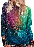 Damen-Sweatshirt, langärmelig, Rundhalsausschnitt, Farbblock, lässiges Regenbogen-Shirt, Oberteil...