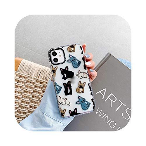 Carcasa para iPhone 11 12 Pro Max 12mini XR XS Max, diseño de bulldog francés, piel sintética, flexible, transparente