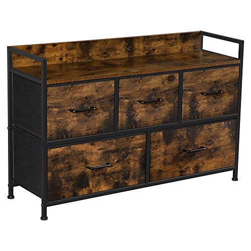 SONGMICS Drawer Dresser, Wide Closet Storage Dresser, Chest of Drawers, 5 Fabric Drawers and Metal Frame with Handles, Rustic Brown and Black ULTS125B01