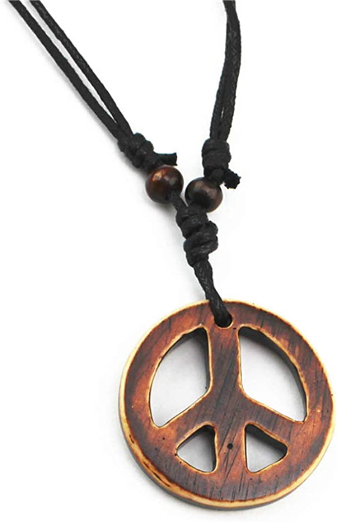60s -70s Jewelry – Necklaces, Earrings, Rings, Bracelets Handmade Adjustable Love Peace Sign Hippie Pendant Necklace Vintage Rope Chain Resin Weave Jewelry  AT vintagedancer.com