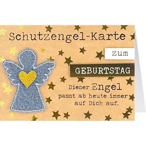 Sheepworld, Gruss und Co. - 90748 - Klappkarte, mit Umschlag, Jeans, Nr. 16, Schutzengel-Karte zum Geburtstag