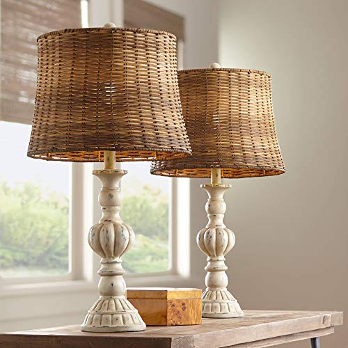 Trinidad Country Cottage Table Lamps Set of 2 Antique White Candlestick Tropical Rattan Tapered Drum Shade for Living Room Bedroom House Bedside Nightstand Home Office Family - John Timberland