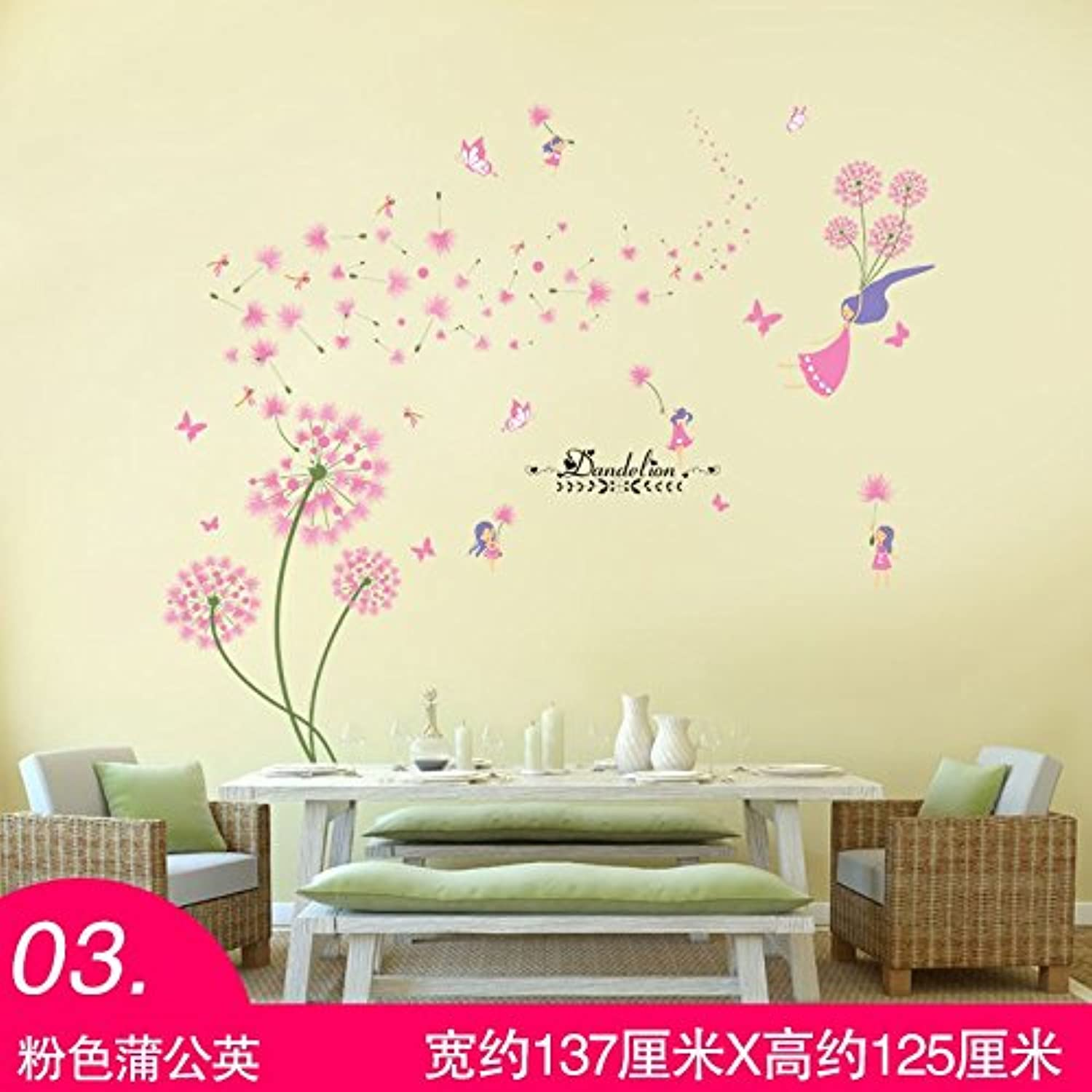 Znzbzt Home Landscape Wall Art Bedroom Decor, Wall Art 3D Posters,03 Pink Dandelion, King